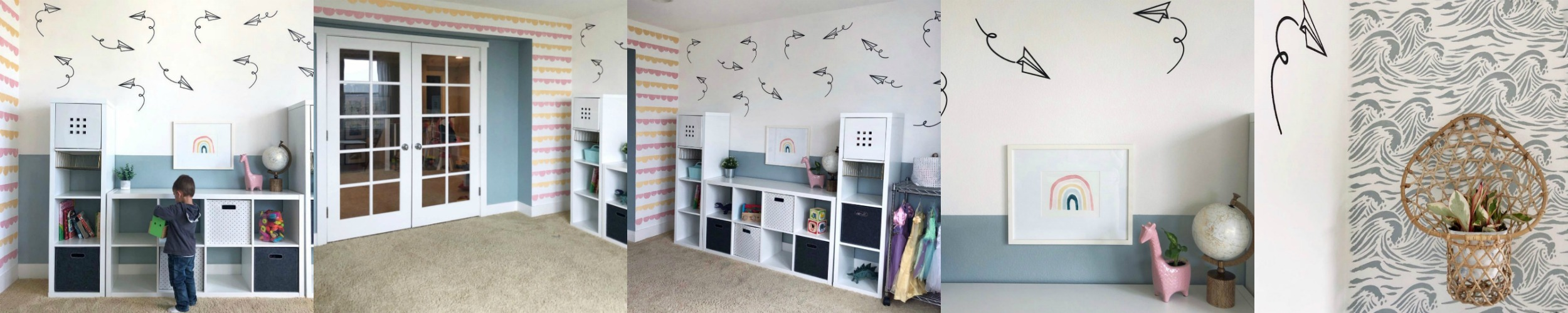 "In her own words, Kristen is ""A full time mom with a part time passion for creating fun, colorful and budget friendly updates in my home."" She recently took on, and completed the #oneroomchallenge and created this oh, so great playroom, featuring our paper plane wall decals in black. She has a  BLOG  with DIY, budget friendly projects. Head on over and see what she's up to now. Thank you, Kristen for sharing."