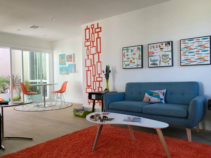 A beautiful Mid Century space featuring our  Rectangle Wall Decor , shown here in orange. A huge thank you to, Brian Preston for sharing.