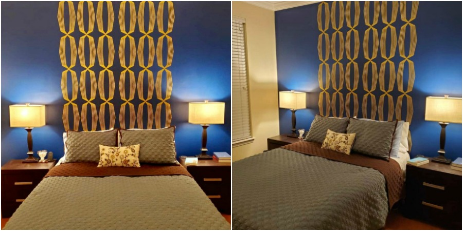 Two panels of our  wall decals , shown here in  metallic gold, and this Mid Century master bedroom is complete.  A huge thank you to Toby Park + Eric for sharing and providing inspiration for your next bedroom project.