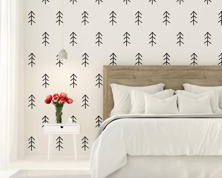 Rustic Scandinavian Woodland Tree Wall Decals Thin Star Graphics