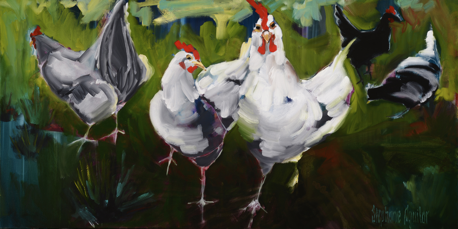 """What the Cluck?, 2016, 24""""x48"""", private collection"""