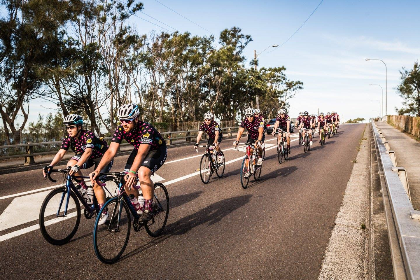 Me peddling into Wyong alongside the womans Specialized ambassador.