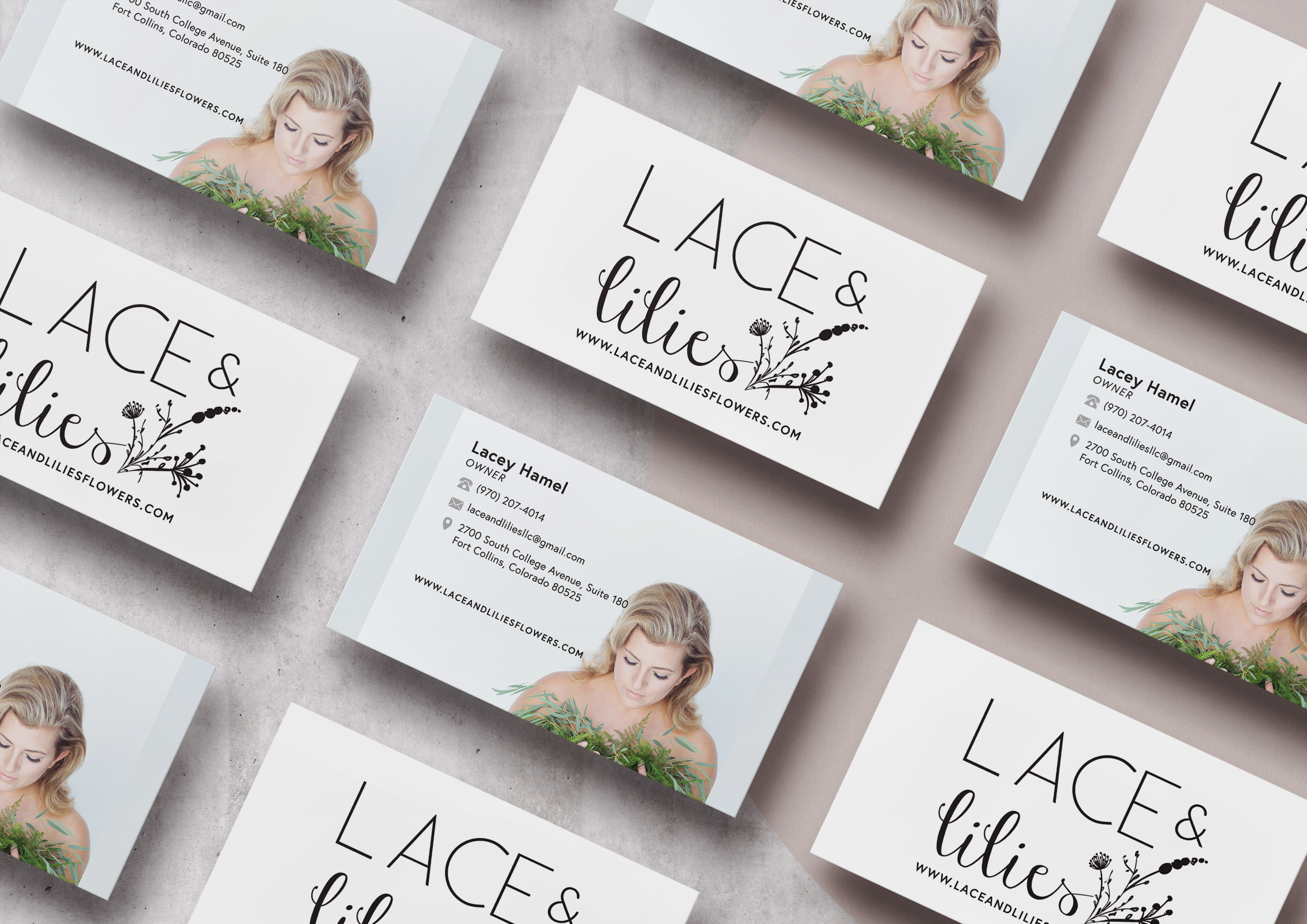 Lace and LIlies Business card design Printed on moo.com luxe paper