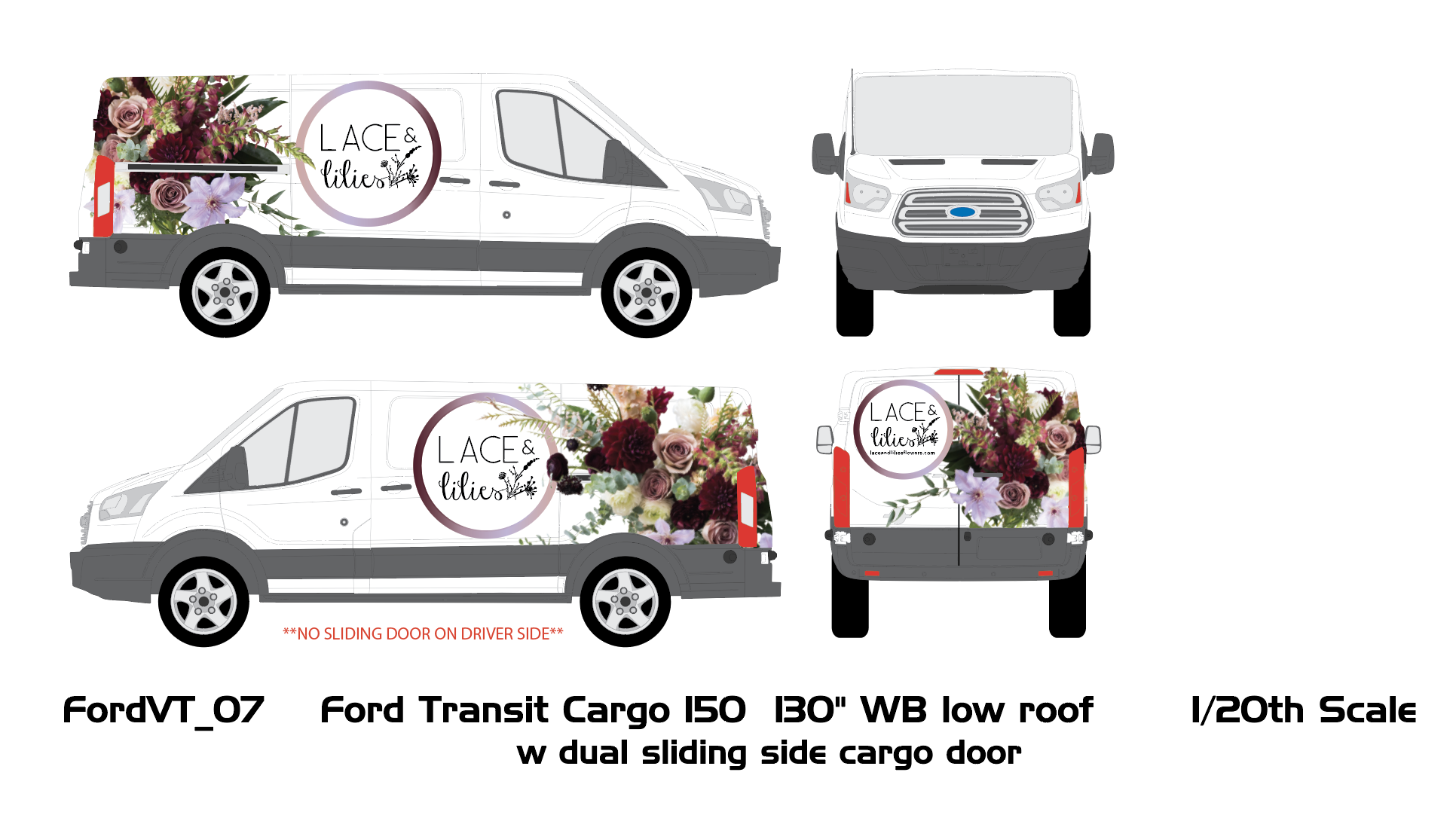 Lace and Lilies large scale van wrap design Digital Mockup