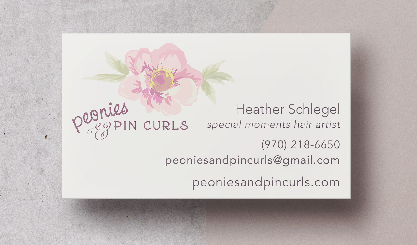 Peonies & Pin Curls Business Card Design