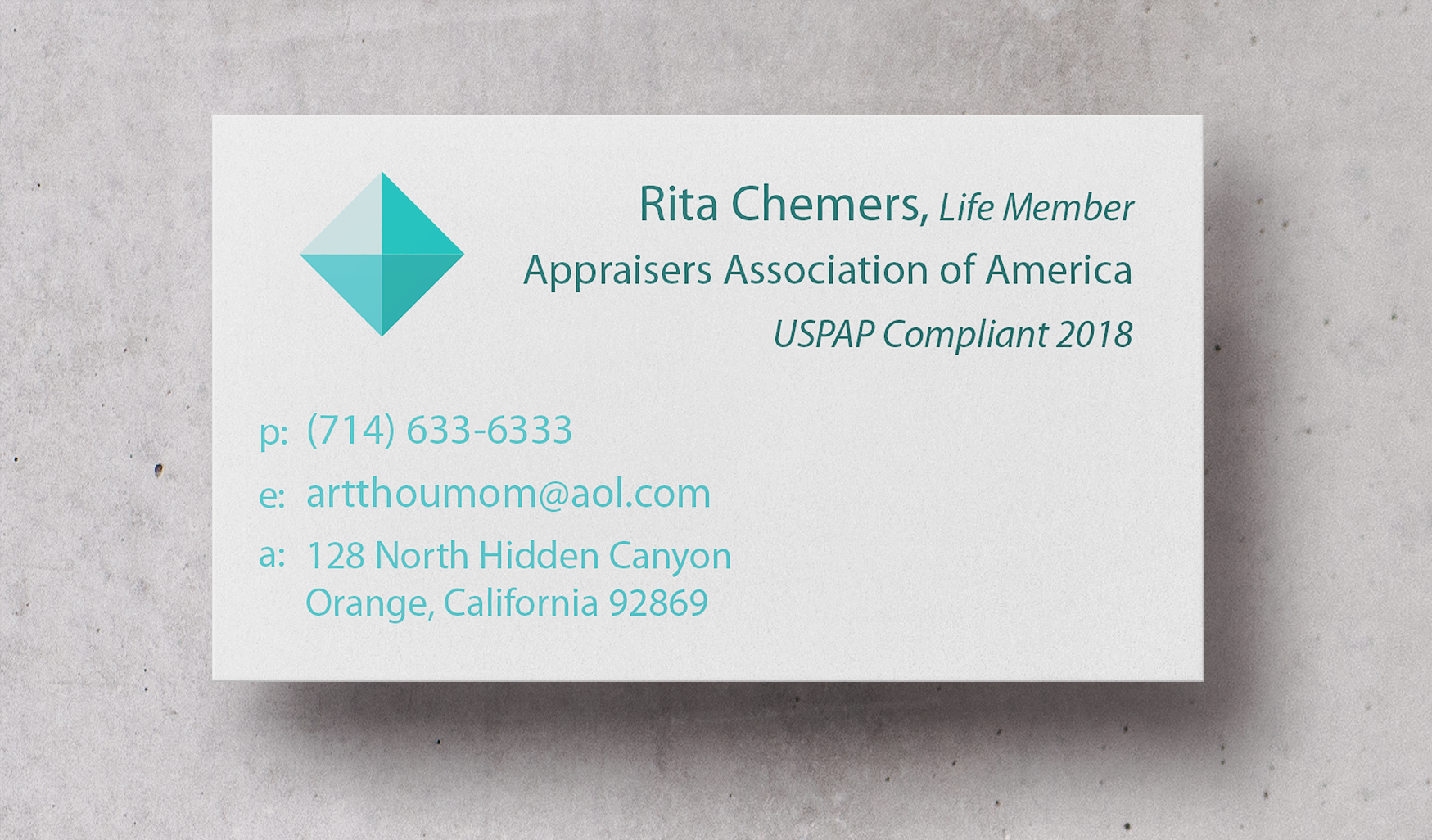 Art Appraisal Business Card Design