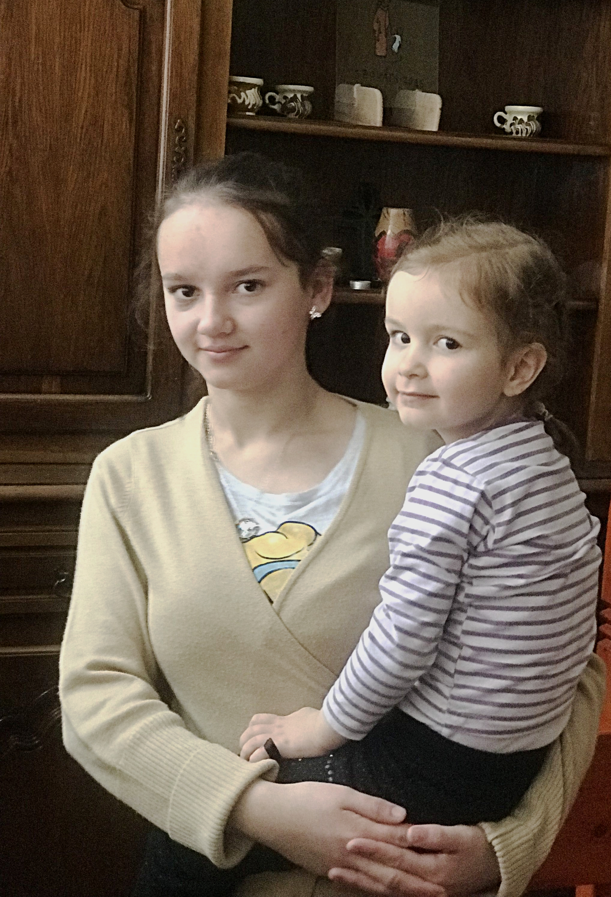 Two of the girls living in foster care