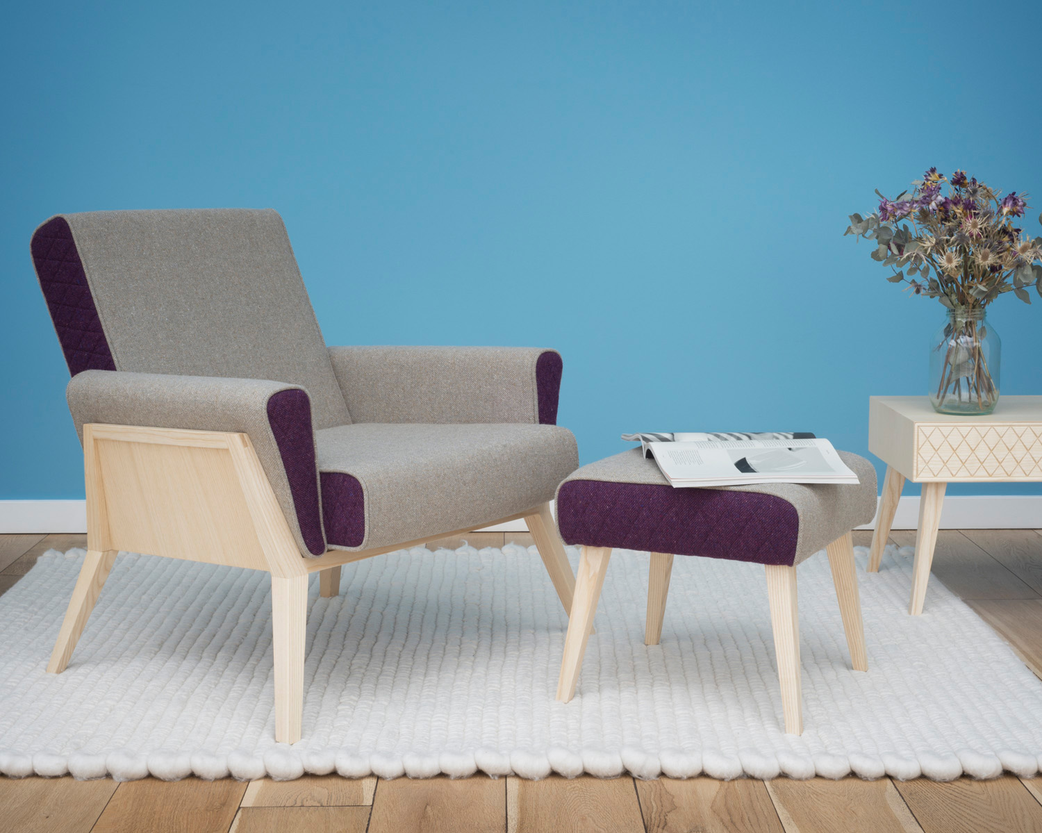 Æsh & Tweed armchair, footstool and coffeetable on Fat Sheep rug.  Photo Justin Barton