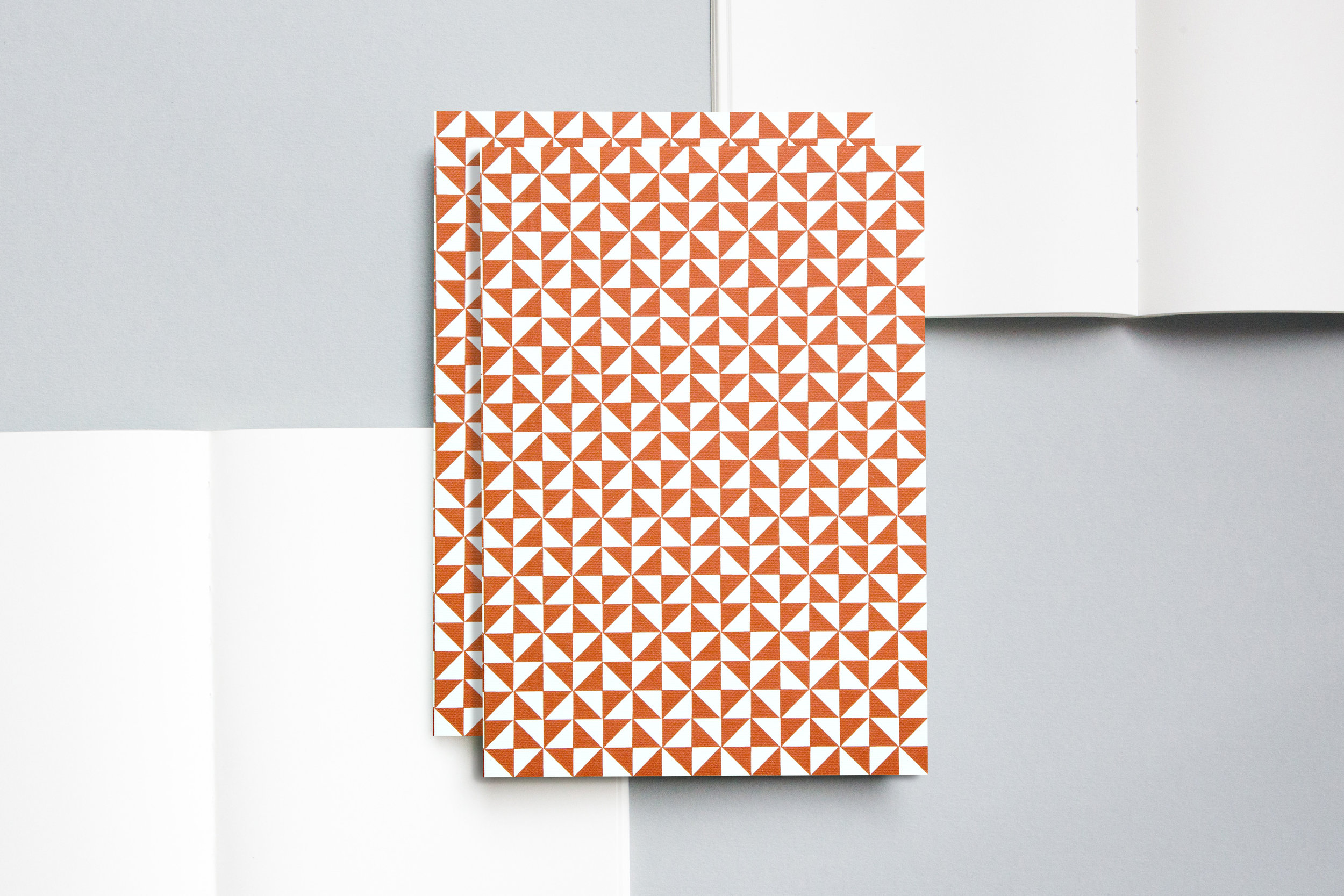 A5021ML - Layflat Notebook, Kaffe Print in Brick Red and Ruled, ola.jpg