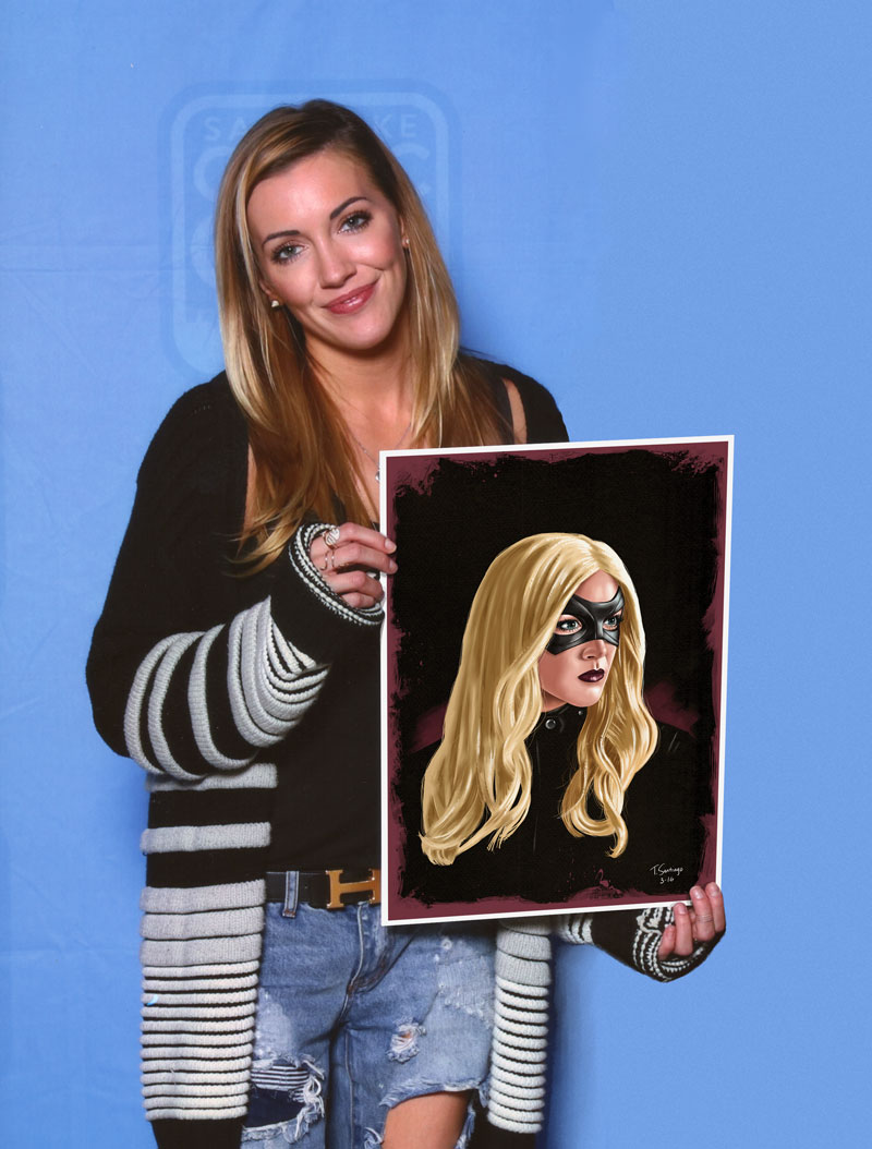 katie cassidy plays black canary on the arrow holding black canary fan art by tony santiago
