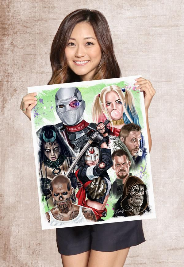 karen fukuhara plays katana on suicide squad holding suicide squad poster fan art by tony santiago