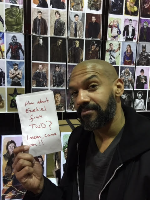 khary payton plays king ezekiel on twd walking dead leaving me a note to draw a king ezekiel for him at heroes and villians fan art by tony santiago