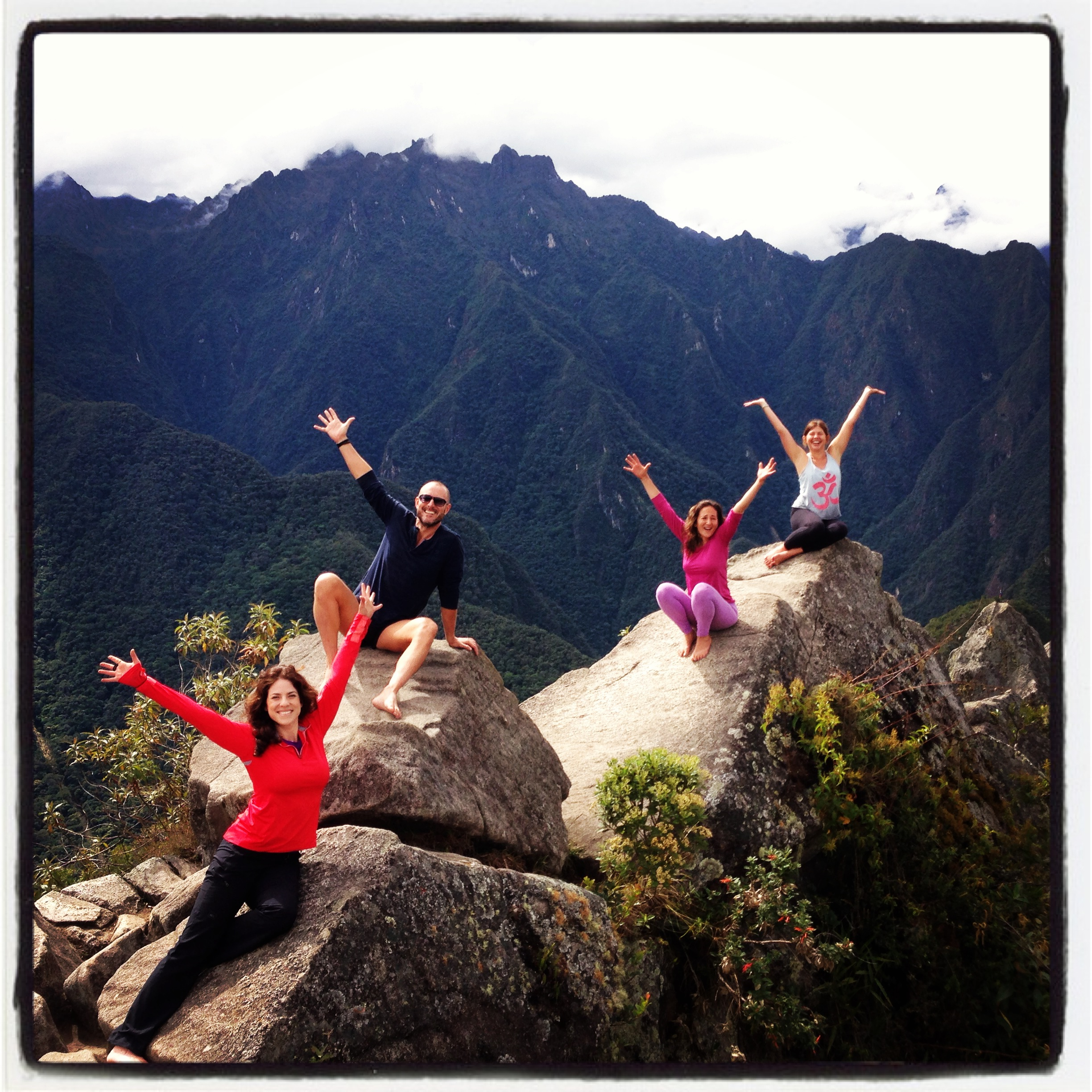 Rochelle on the top of Huayna Picchu in Peru with friends