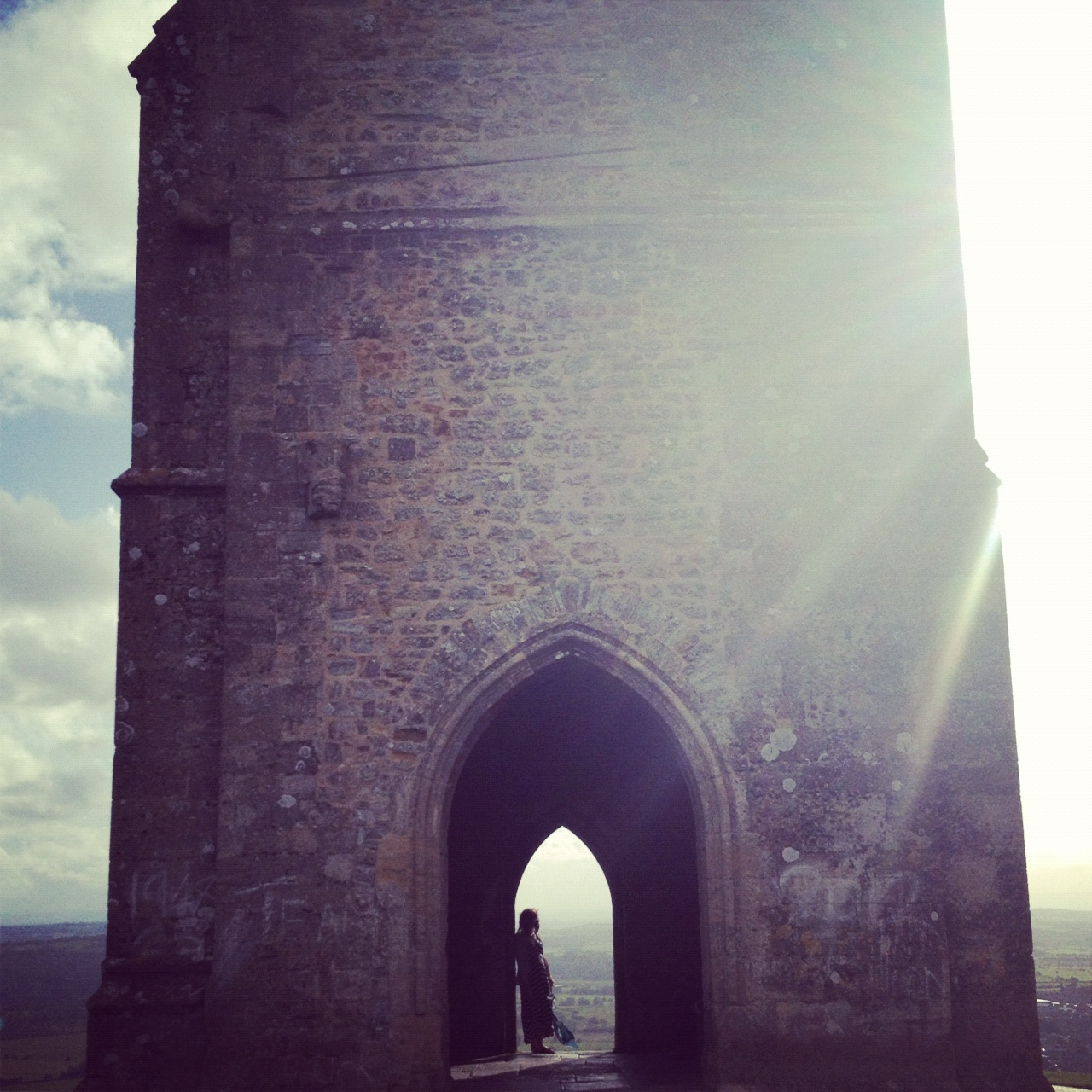 Looking out from the Tor in Glastonbury, England