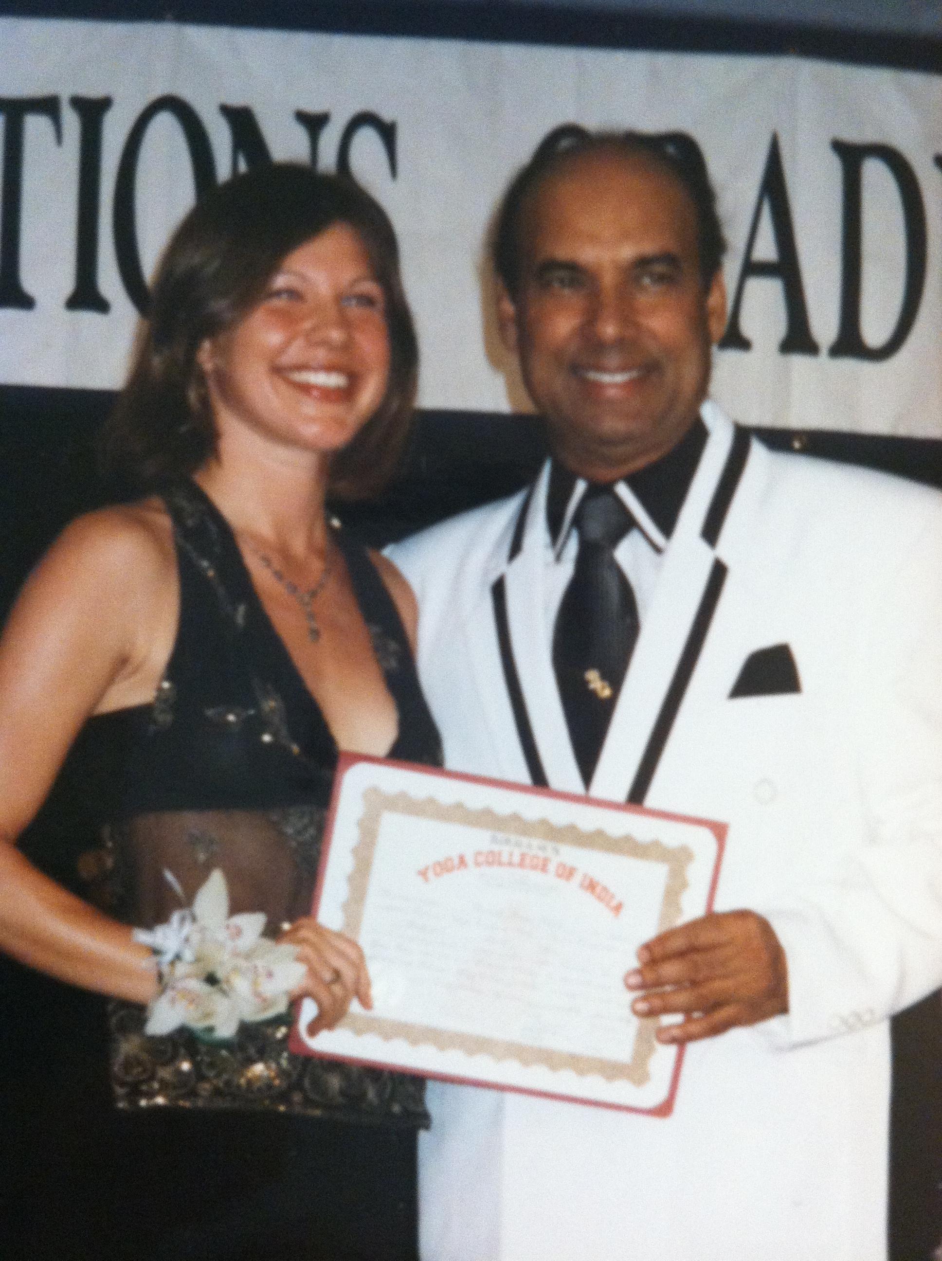 Rochelle at her graduation of Bikram Yoga Teacher Training in 2003