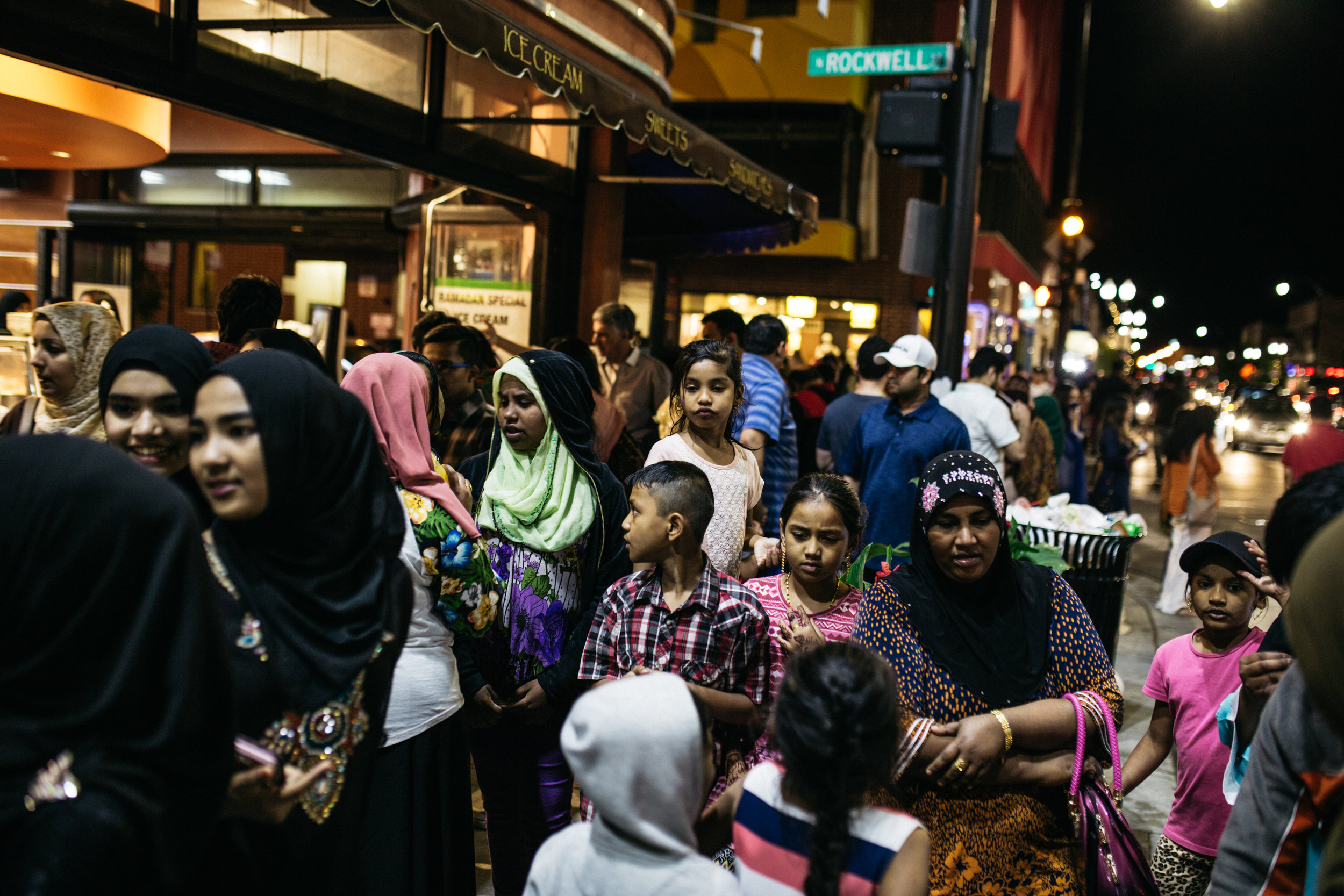 Rohingya women and children join other muslim neighbors to fill Devon Avenue in celebration of Ramadan.
