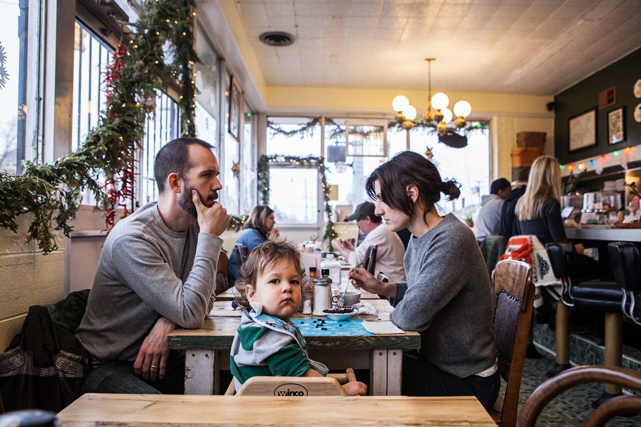 A West Village family shares a bite to eat at Rose's Fine Foods.