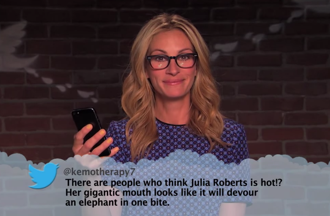 "Actress Julia Roberts recently appeared on the ""Mean Tweets"" segment of Jimmy Kimmel Live in her Salt Optics style Adler in Matte Tobacco Brown."