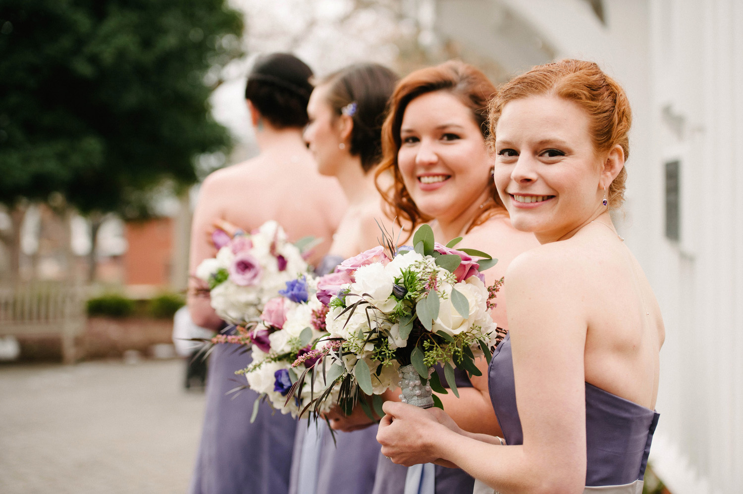 Bridesmaids Outside St. Mary's Chapel Wedding