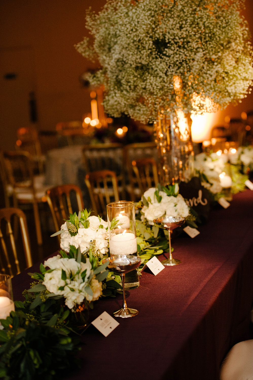 Baby's Breath Centerpieces at Cobblestone Hall