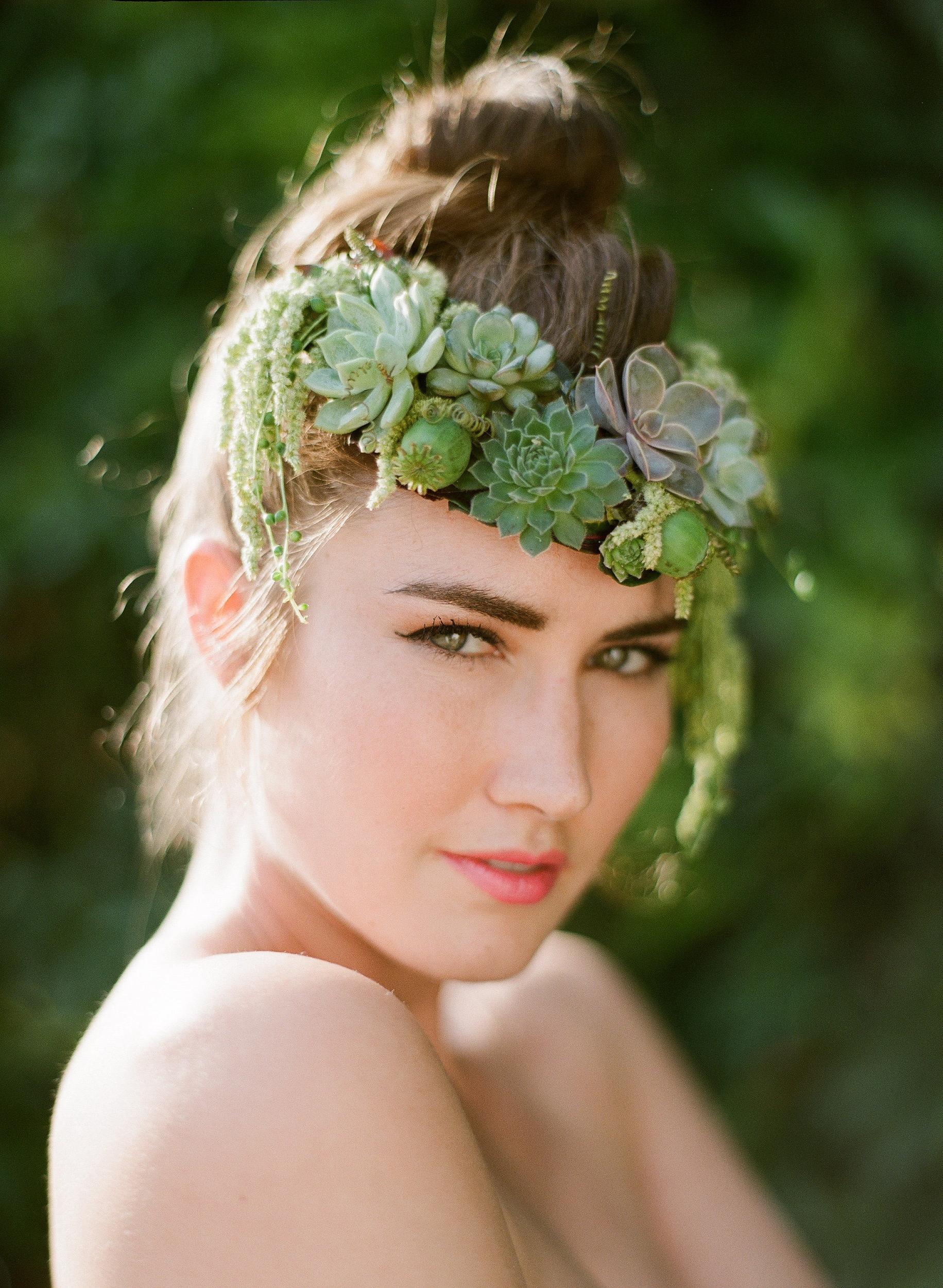 Succulent Headpiece, Floral Jewelry