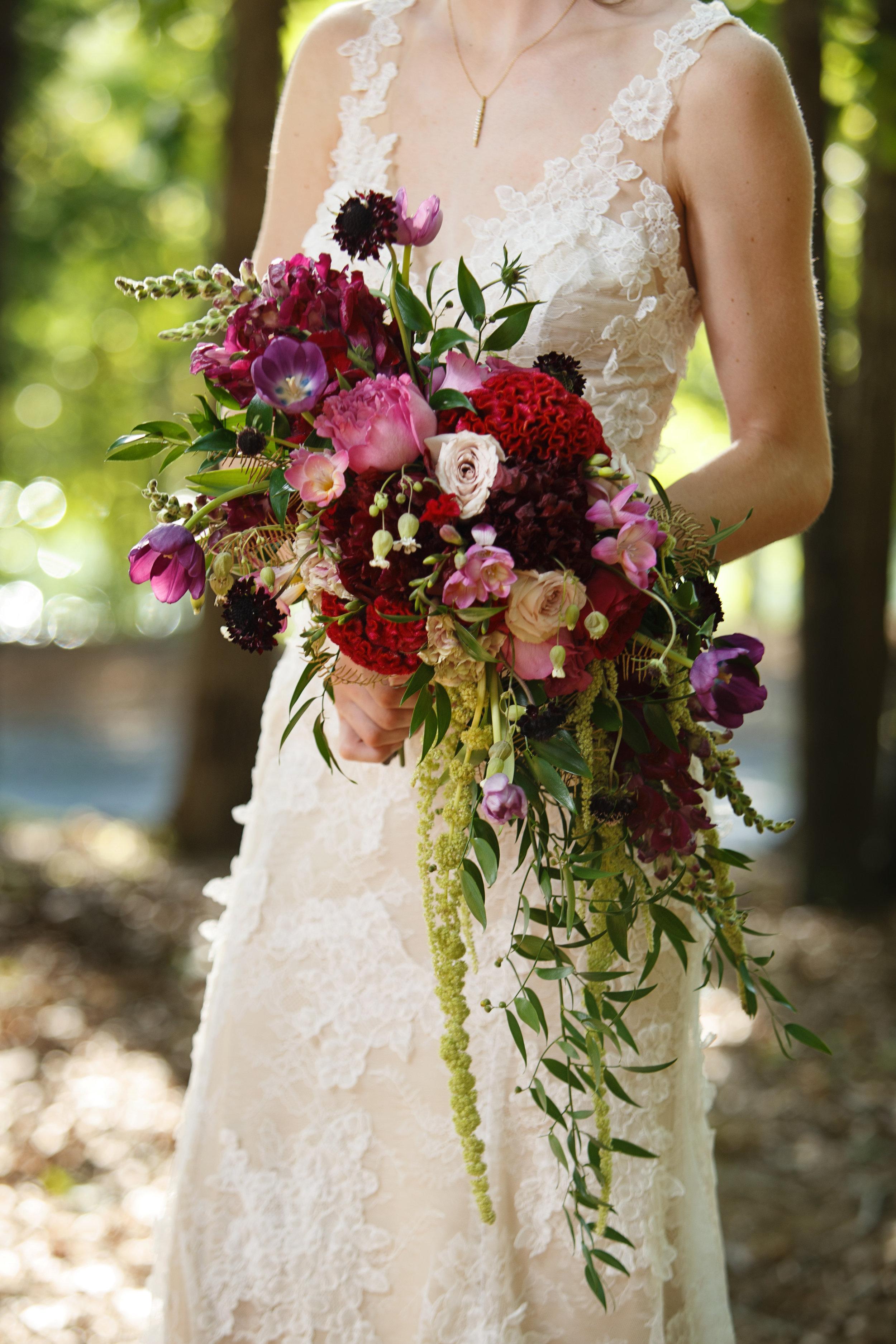 Cascading Bridal Bouquet, Angus Barn Wedding, Elegant Woodland Bouquet