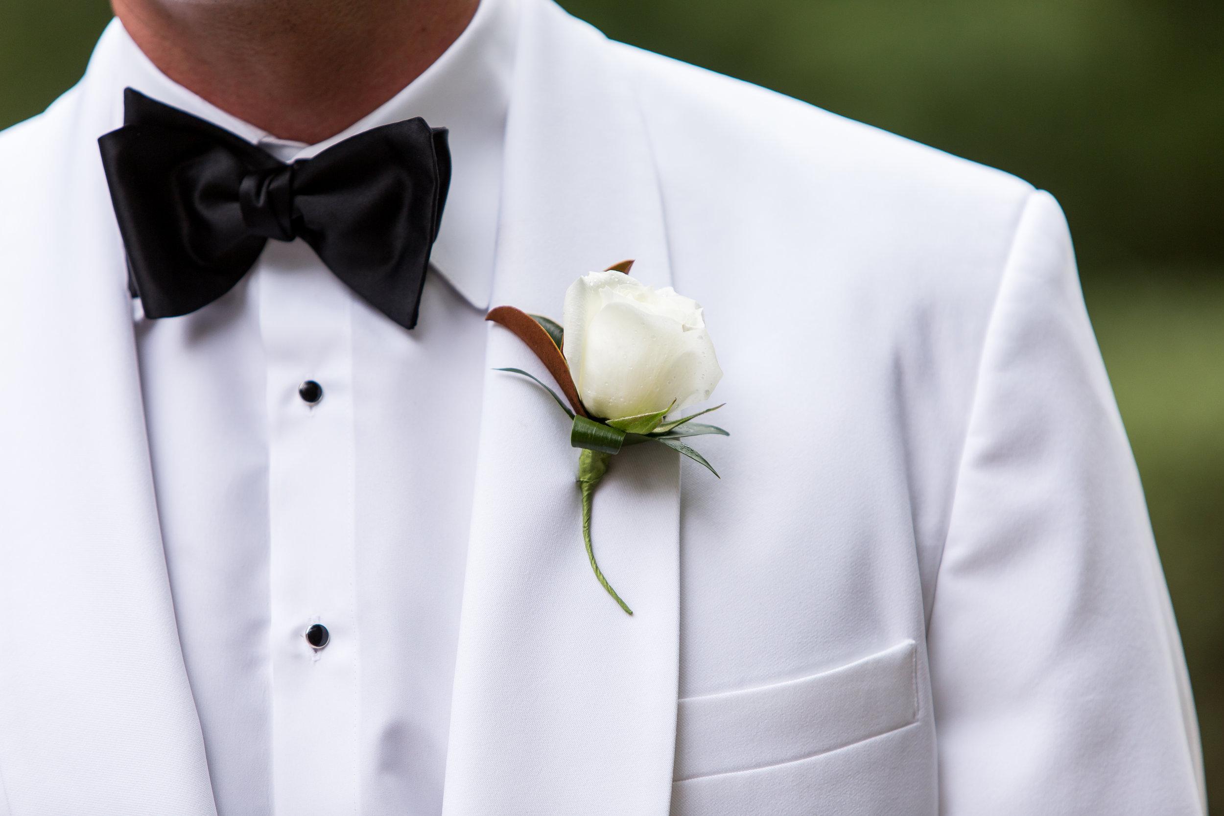 Groom Boutonniere, Umstead Wedding, White tux jacket