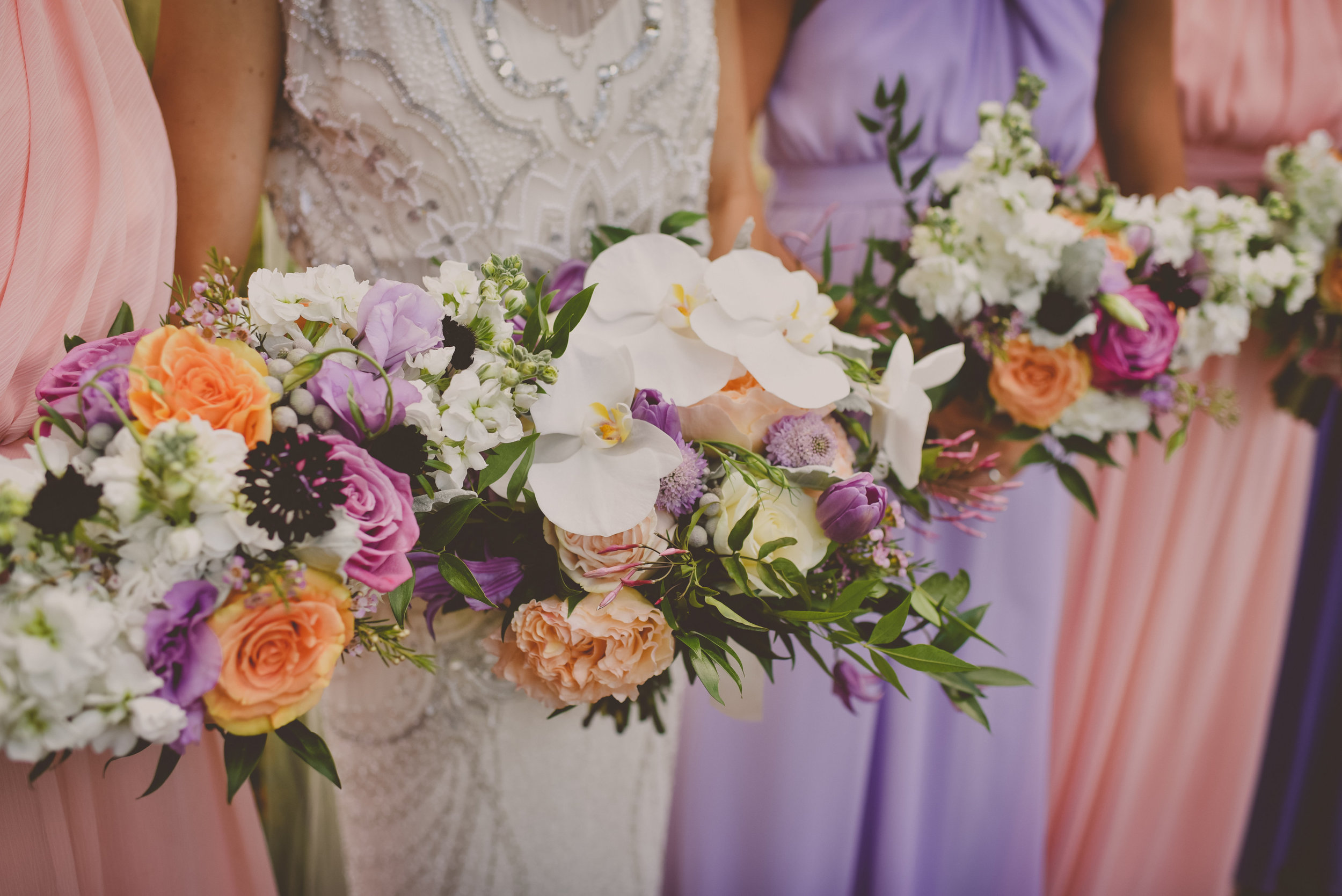 Bride and Bridesmaid Bouquets, Purple and Orange, Peach and Lavender
