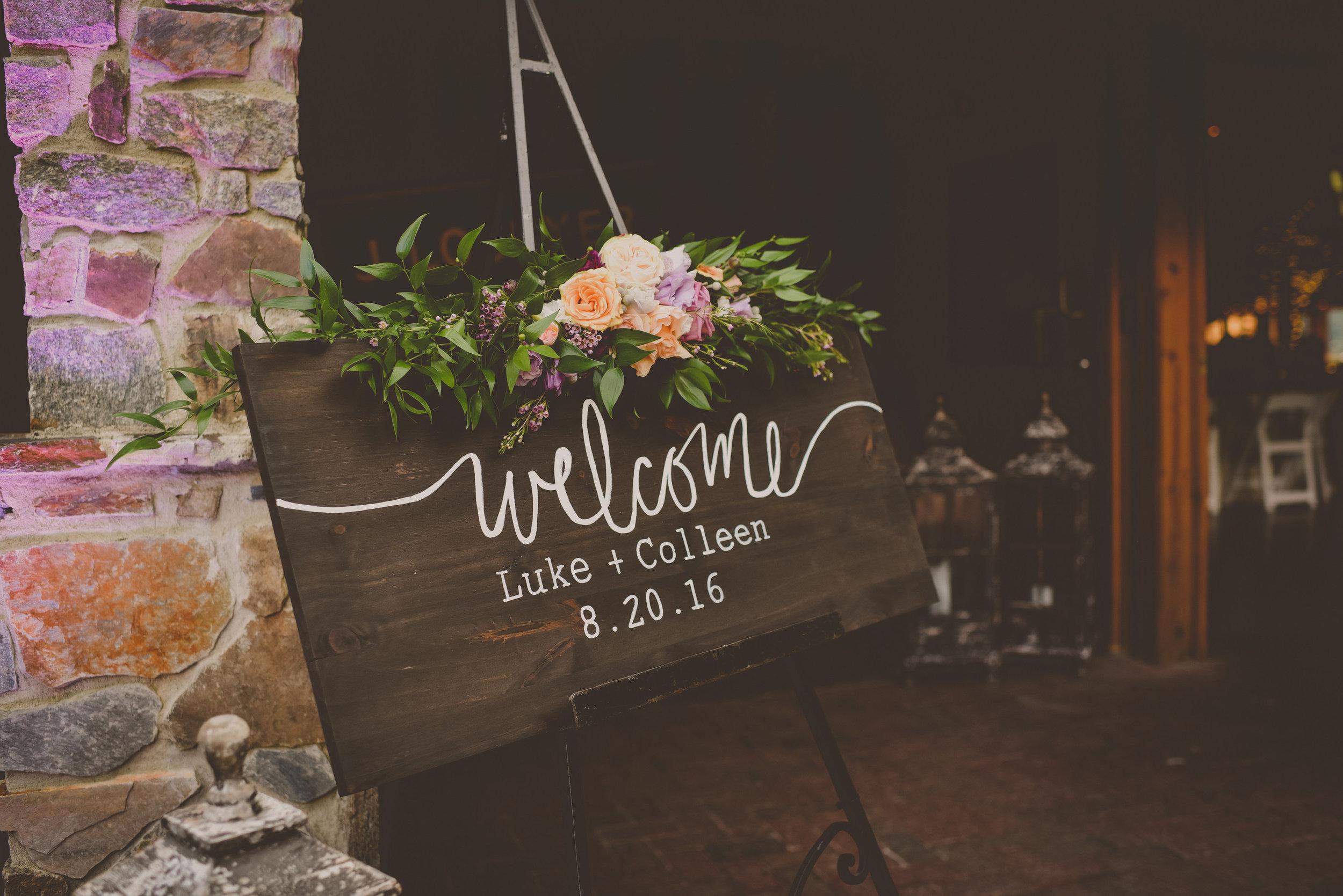 Angus Barn Wedding Entrance Sign
