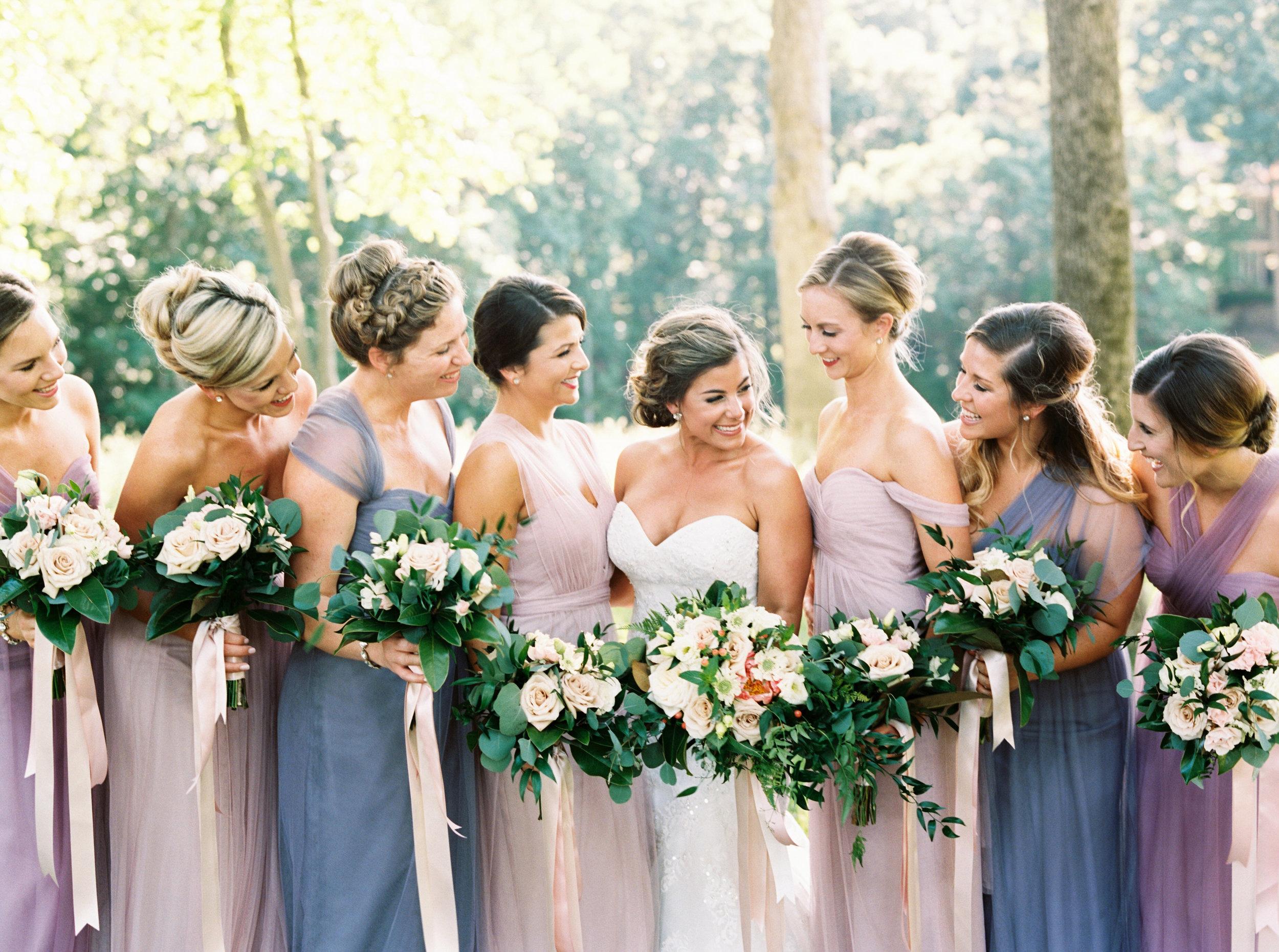 Bridesmaids with bouquets, Durham Wedding