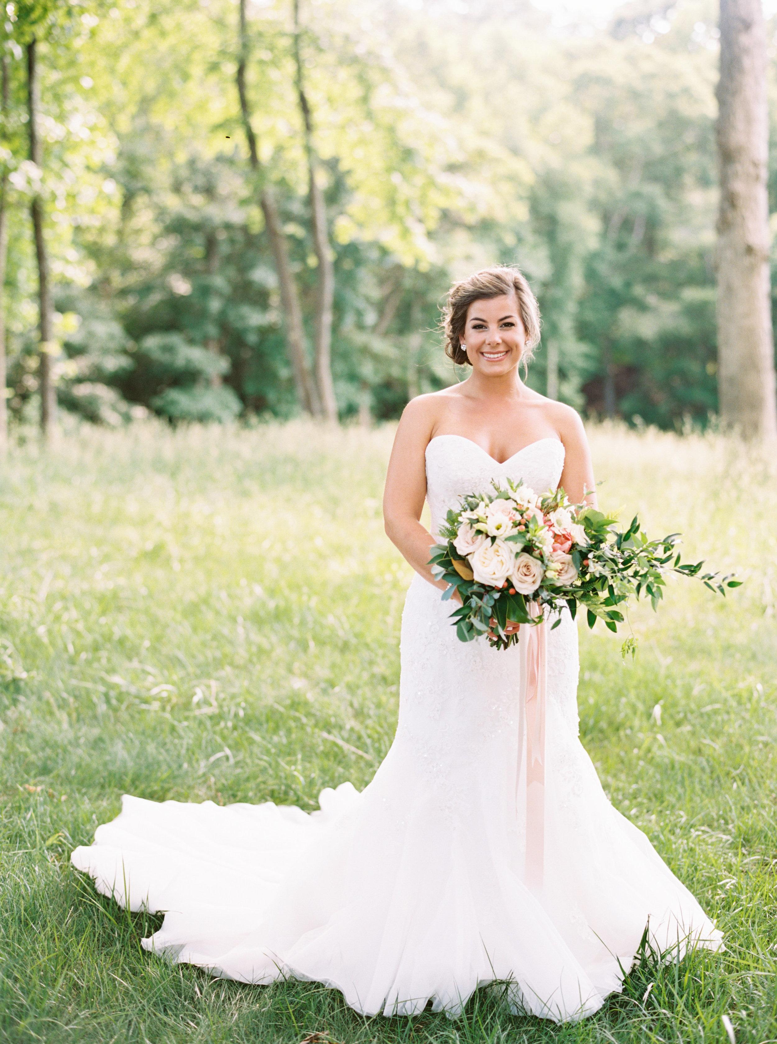 Durham Wedding, Bridal bouquet with trailing ribbons