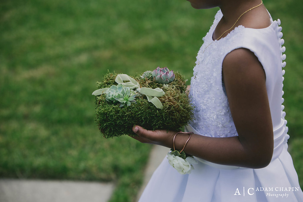 Flower Girl, Ring Bearer Pillow with Succulents, Umstead Hotel and Spa Wedding