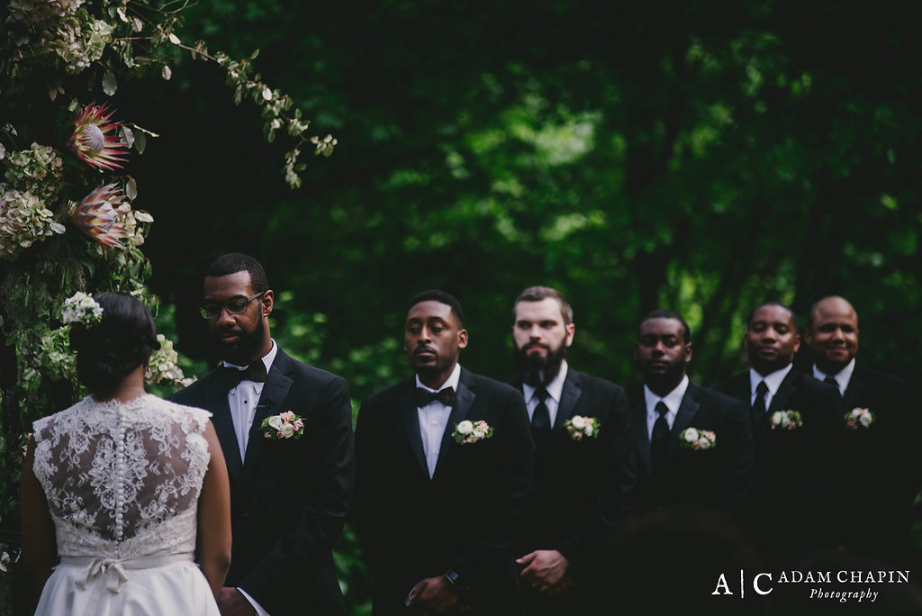 Groomsmen with floral pocket squares, Umstead Hotel Wedding