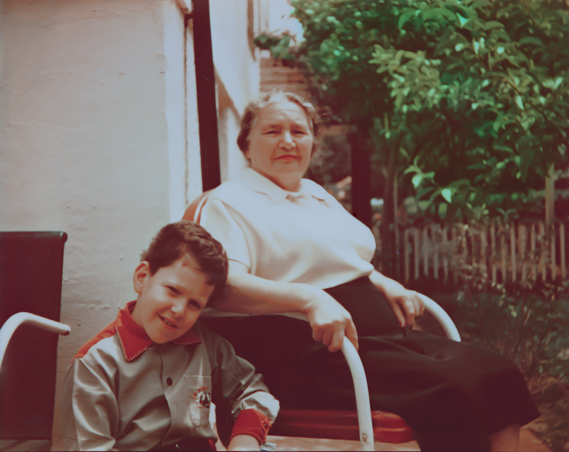 My Brother With My Grandmother In Her Garden Apx 1953