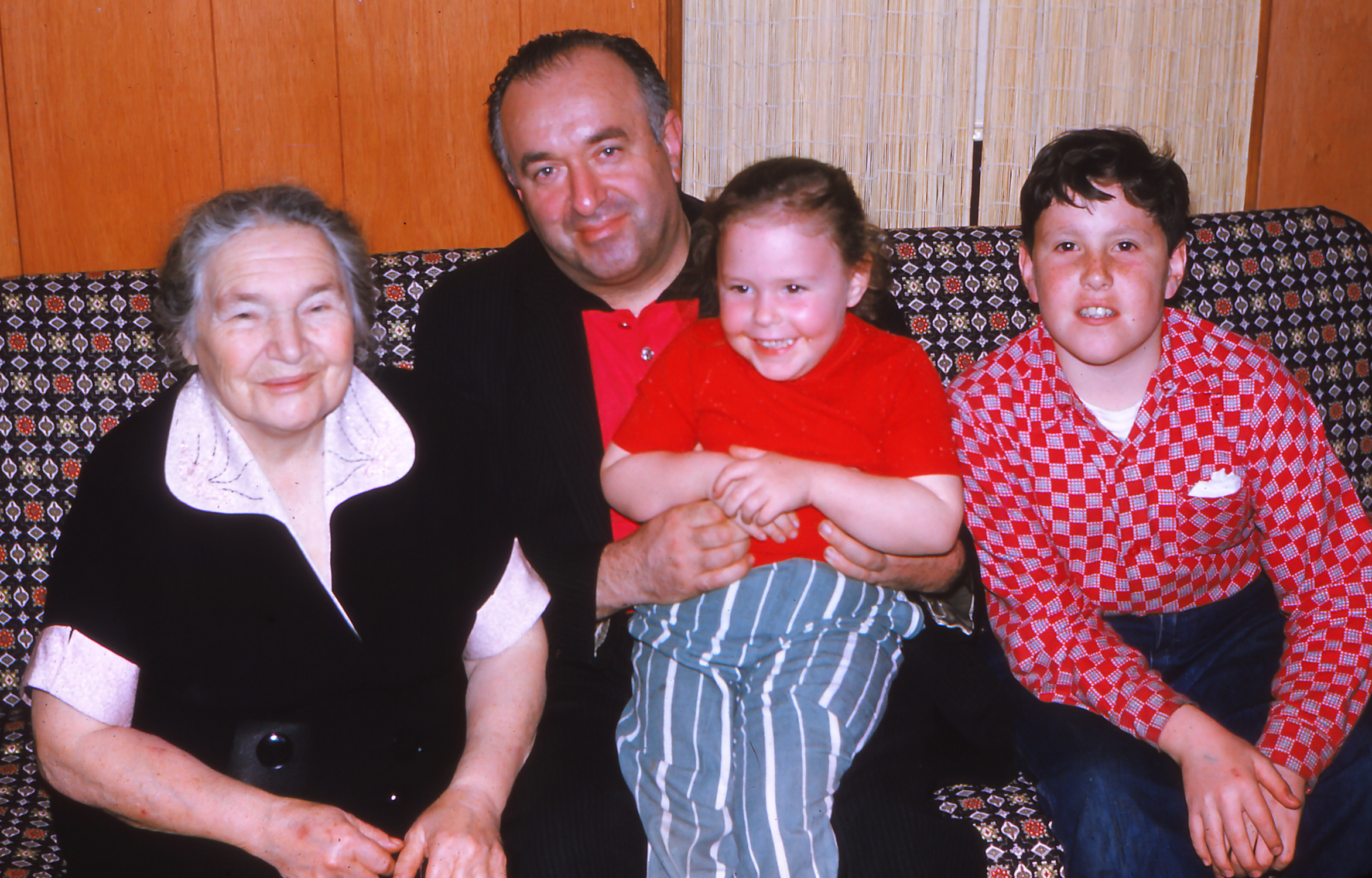 """My Grandmother, Uncle & Brother With Me In Our """"Finished Basement"""" Apx 1959"""
