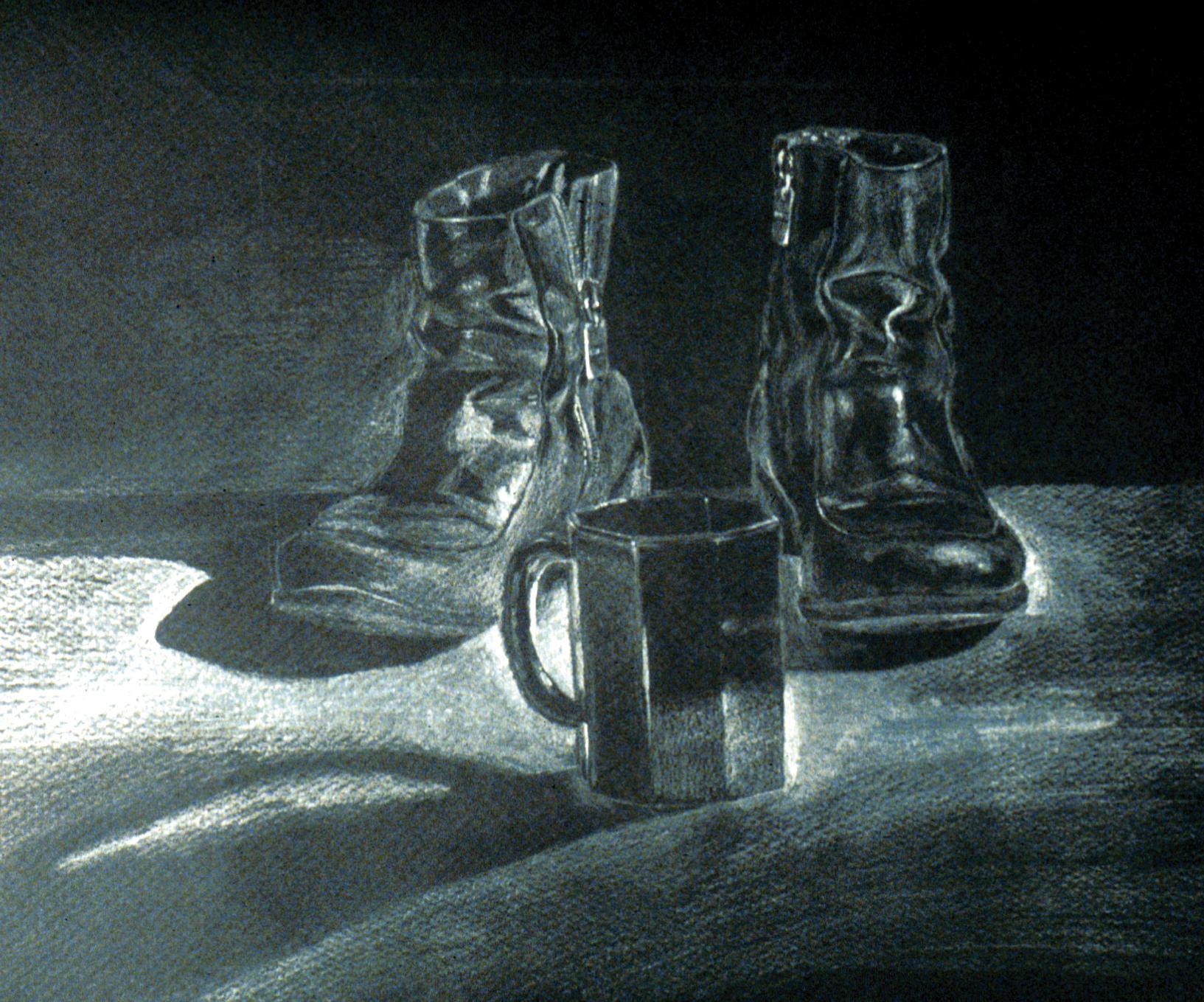 Black boots and mug