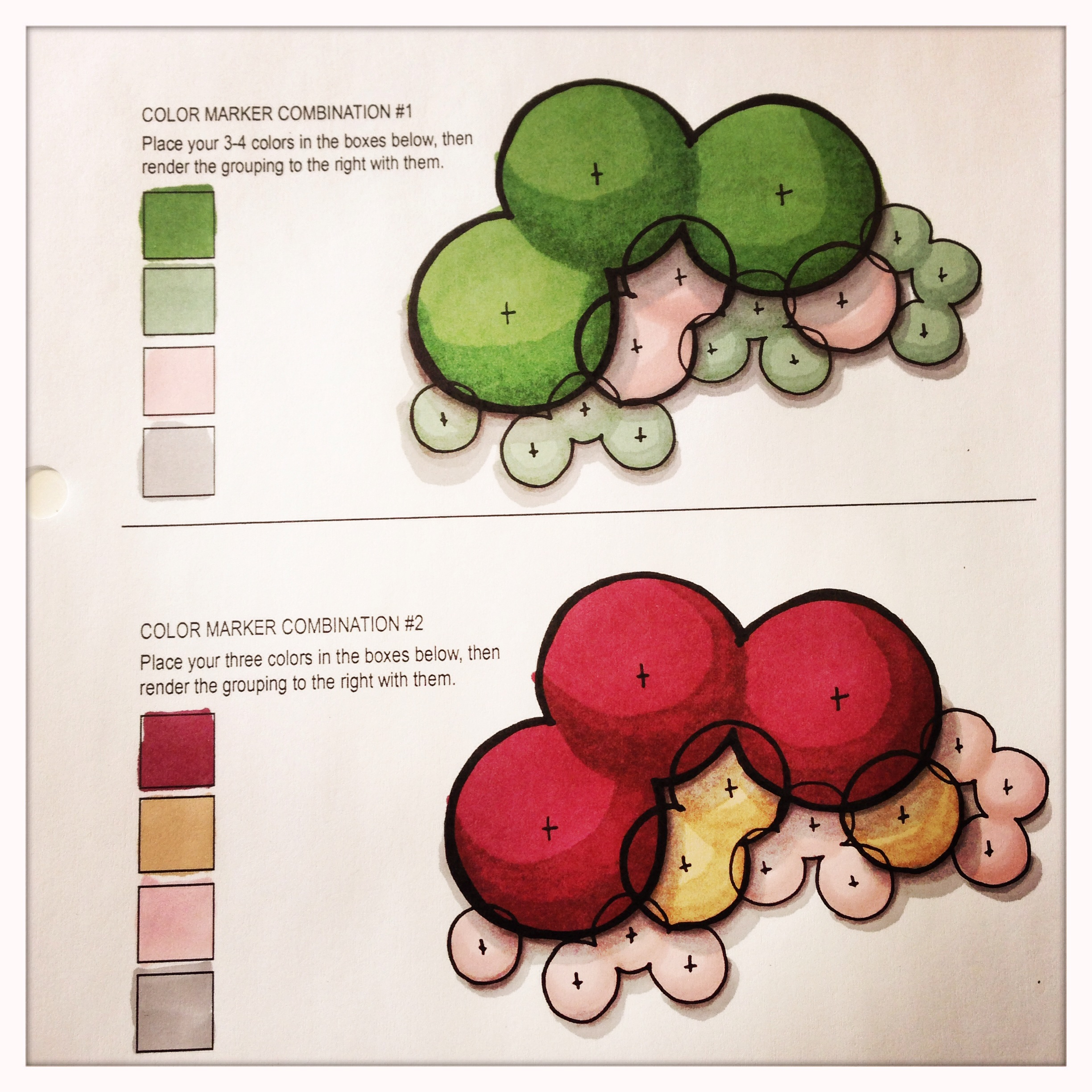 Color rendering by hand with Prismacolor markers.