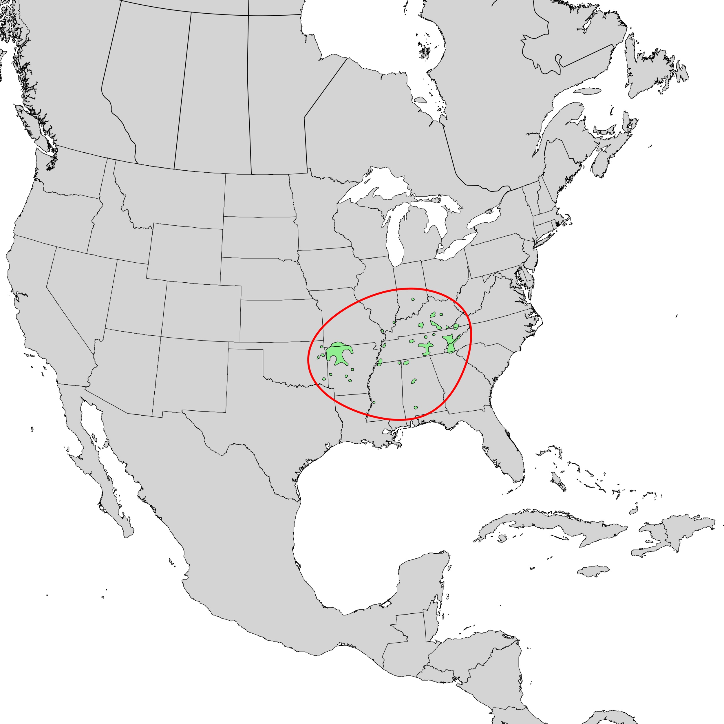 Provenance of American Yellowwood. Elbert L. Little, Jr., of the U.S. Department of Agriculture, Forest Service  -   USGS Geosciences and Environmental Change Science Center: Digital Representations of Tree Species Range Maps from: Elbert L. Little, Jr. (1977), Atlas of United States trees, Vol. 4 , minor Eastern hardwoods : U.S. Department of Agriculture Miscellaneous Publication 1342, 17 p., 230 maps.