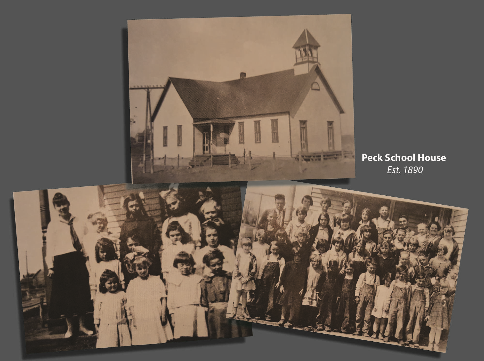 Top:  Peck School House, 1905     Left:  1918-1919 Primary Class     Right:  Peck School Primary and High School classes 1928-1929