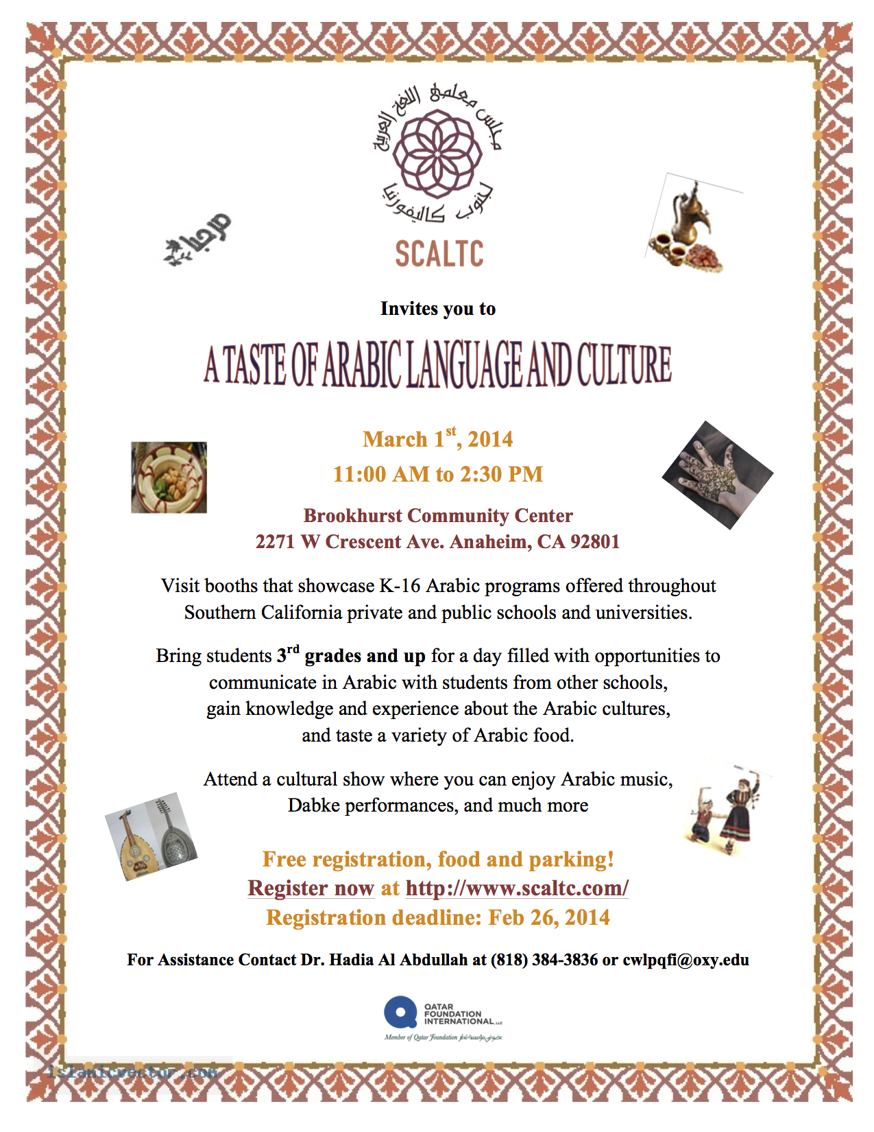Upcoming Events — Southern California Arabic Language Teacher Council
