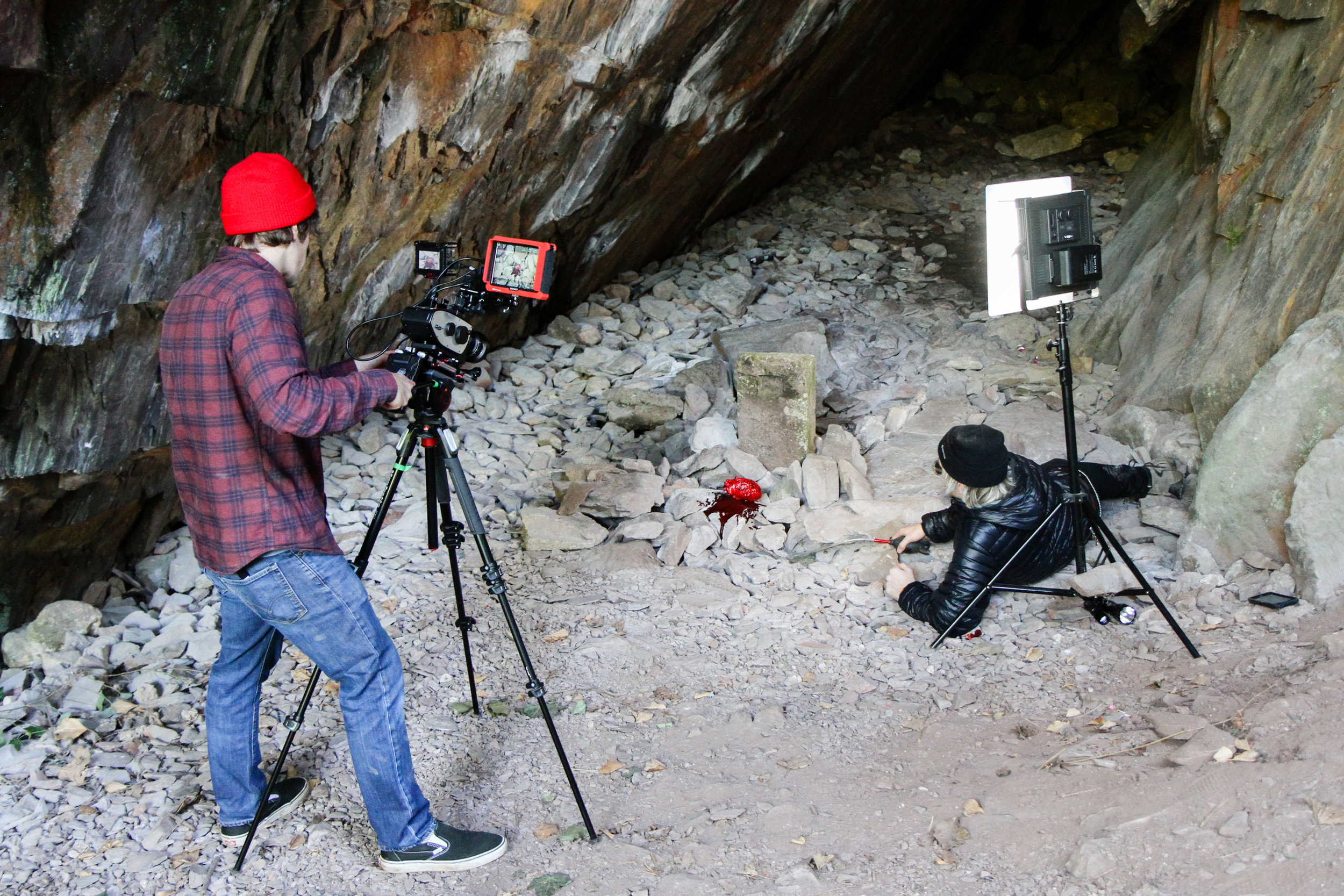 This cave was about 45 minutes drive from our home. I think it's the only one near us. It's not a very good cave but we managed to get the local council to let us use it for free. We had to shoot it from various angles that don't make sense geographically because it was so small.