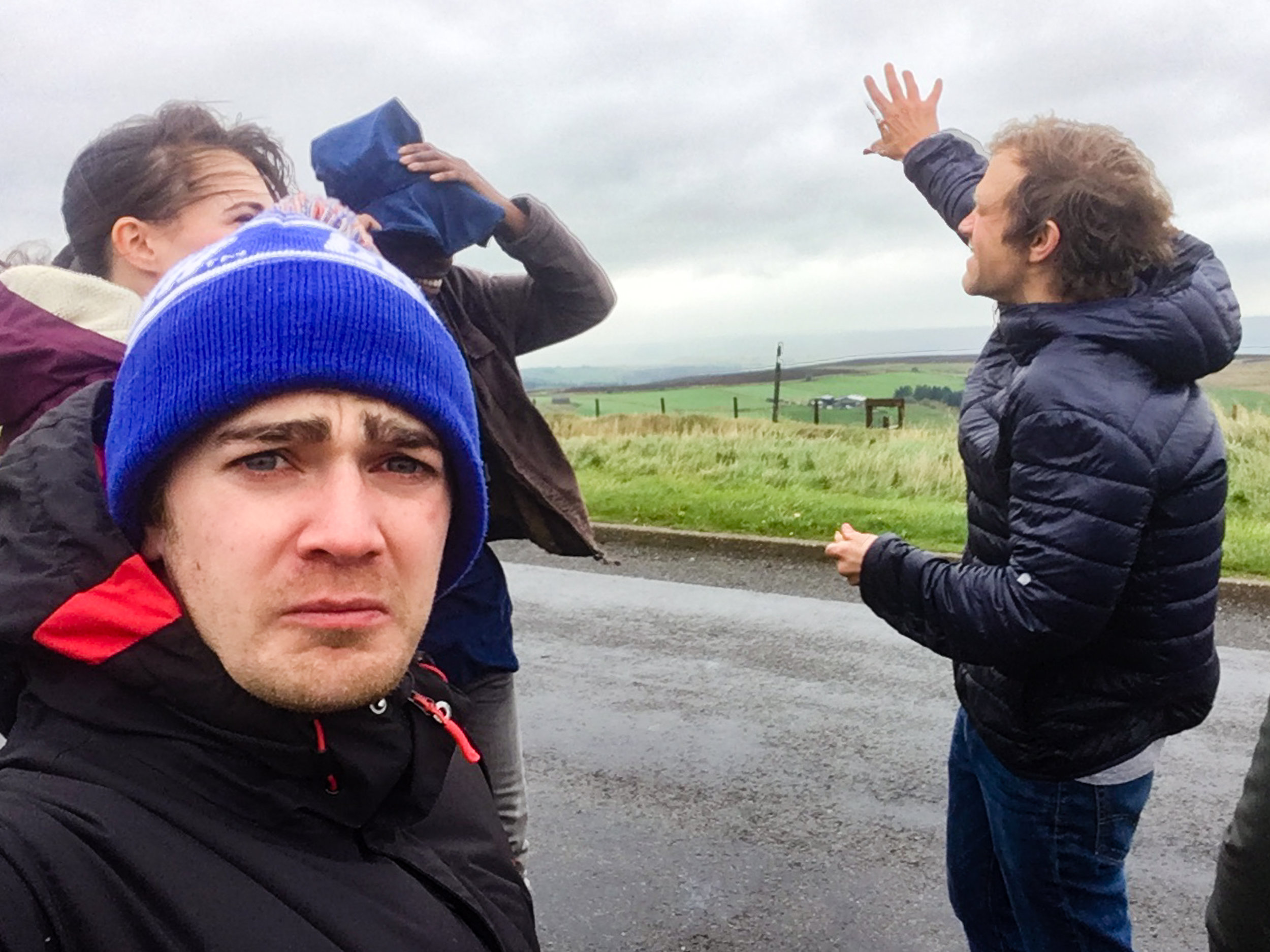 This was Day 4 of filming. All of our epic drone shots went to shit because it was too windy and rainy. We ended up spending the afternoon in a Tea Room whilst Lloyd had a nervous breakdown.