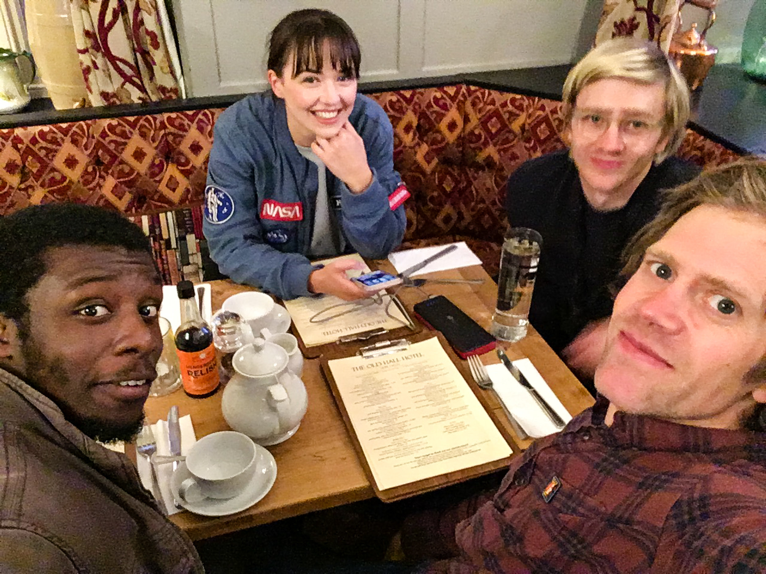 Celebratory last shoot day meal. Have you ever seen that Red Dwarf episode with Duane Dibley in it? If you need reminding what he looks like, either look at Michael or click  HERE .