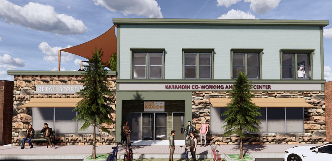 A rendering shows one of the possible final designs of Our Katahdin's building at 230 Penobscot Ave. in Millinocket, one of several projects the firm has in the Katahdin region.