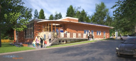 ARCADIA's principal architect Patric Santerre was recently honored with the commission to redesign his hometown library in Millinocket, Maine. Assistance with rendering from Derek Smythe.