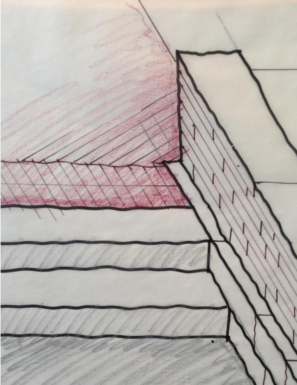 A preliminary sketch for concrete steps meeting the seatwall.