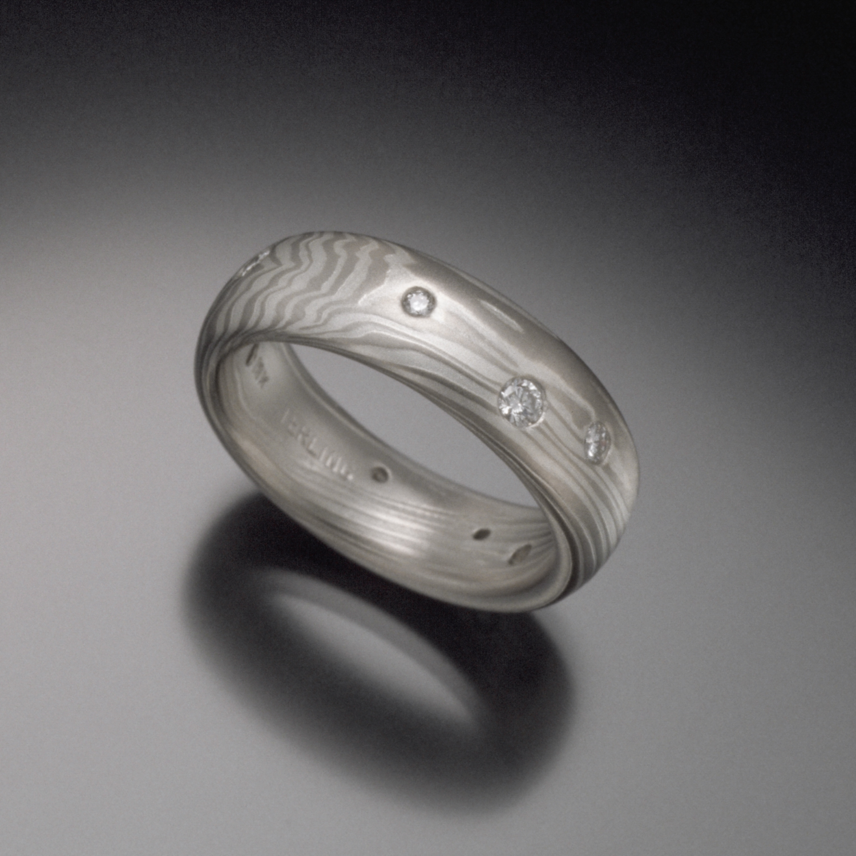 Mokume Diamond Band - 18K White Gold, Sterling, and Diamonds