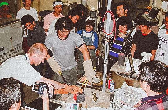 Steve in Japan demonstrating the solid state diffusion bonding of Mokume Gane.