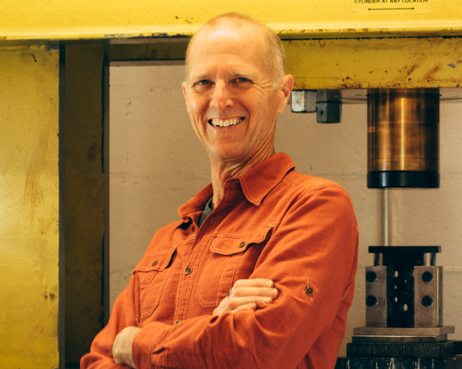 "Steve in the ""press room"" with his 200 ton hydraulic press."