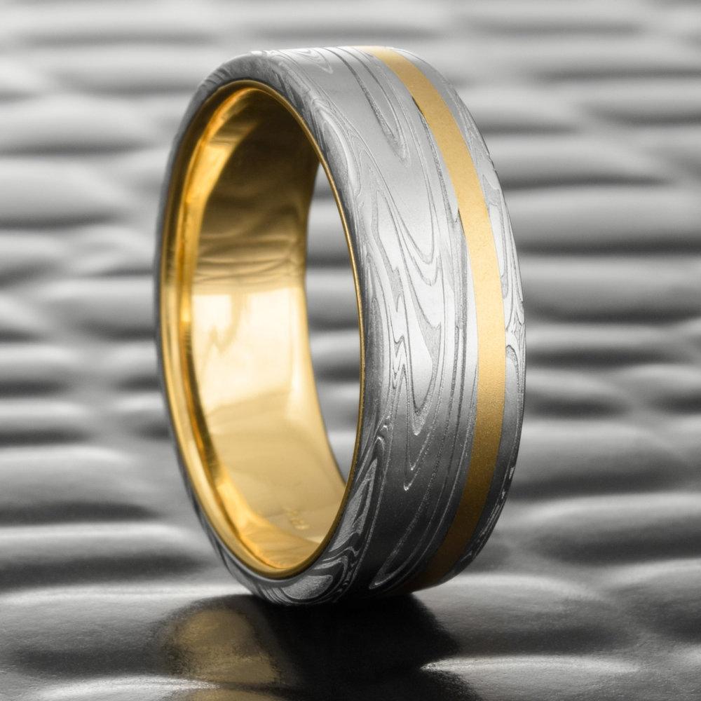 Damascus Men S Wedding Band Flat 18k Yellow Gold Offset Inlay Liner Swirling Current Steven Jacob